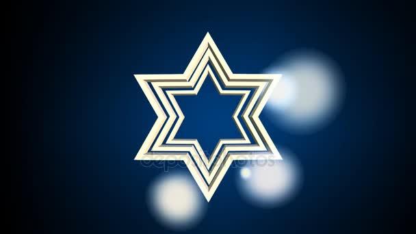 Osnovy David hvězda, Židovské symboly, přibližování či oddalování na tmavém pozadí s rozmazané světly. Animace pro židovské svátky.