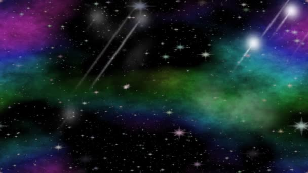 Meteorites flying through the universe with multicolored nebula group,  video animation for astronomy, sci-fi, science