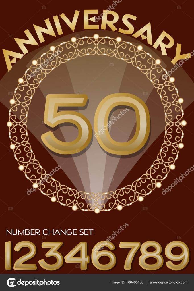 celebración del 50 aniversario en elegante marco dorado. Número de ...