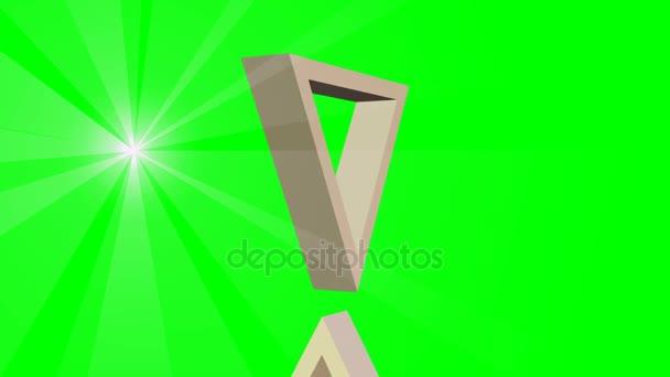 David hvězda, židovský symbol, animace ze dvou pohyblivých 3d trojúhelníky a bod světelné paprsky, video na zelené obrazovce