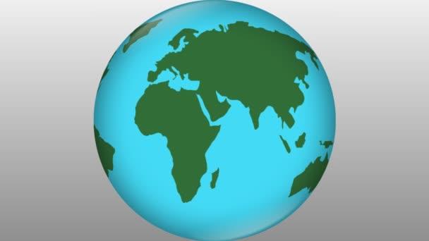 Stylizované zemi modrá prvek s zelené kontinenty otočení na pozadí ve stupních šedi, cestování symbolu, cestování reklama, world news intro, ekologické téma, přírodní vědy,