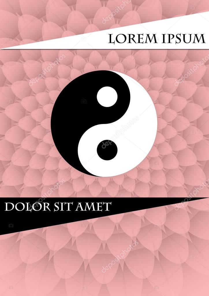 Jin Jang Symbol On Pink Textured Background Book Cover Placard Flyer Poster Bill Template With Chinese Tag Of Power Vector Eps 10 Premium Vector In Adobe Illustrator Ai Ai