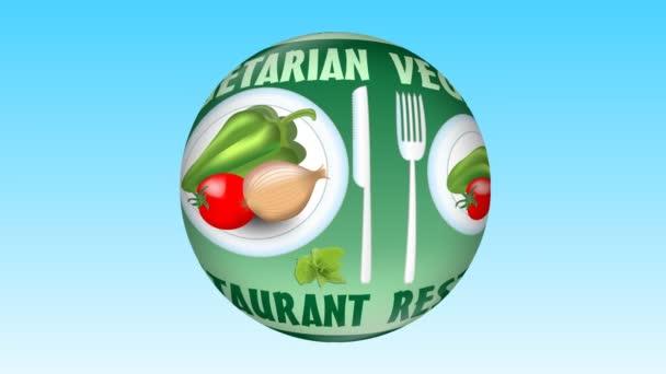 Vegetariánská restaurace inzerce video s pepř, rajče, cibule, zelenina na bílé plotně, obrázek otočení na zelené koule