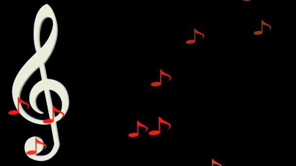Hudební pozadí, bílé houslový klíč pohybuje vodorovně v roj žluté a oranžové noty na černém pozadí.