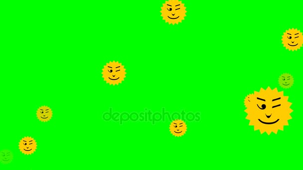 Flying Yellow Emoticons In Sun Shape Different Facial Expression