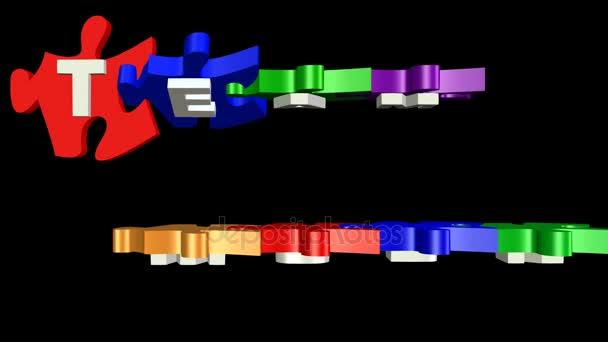 3D puzzle kousky s nápisem týmová práce. Hádanky v osobité barvy postupně změní z horizontální na vertikální