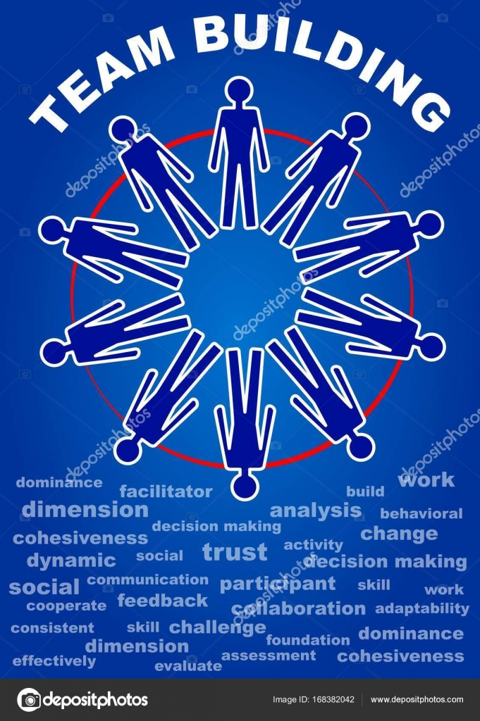 team building presentation leaflet flyer with people in a circle