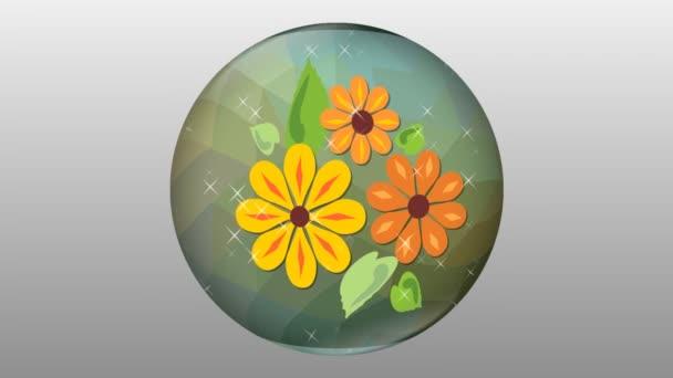 Šumivé koule sklo s květinovým motivem, otáčení na šedém pozadí. Abstraktní květinové dekorace, skleněné těžítko