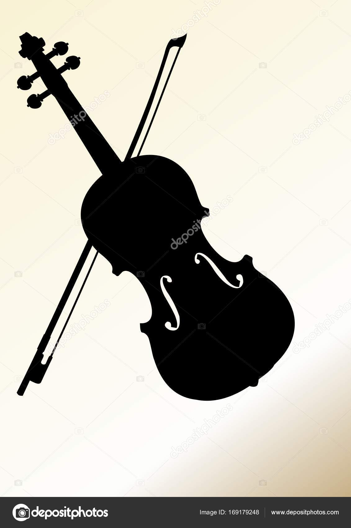 Flyer Design Template With Violin Silhouette On Isolated On
