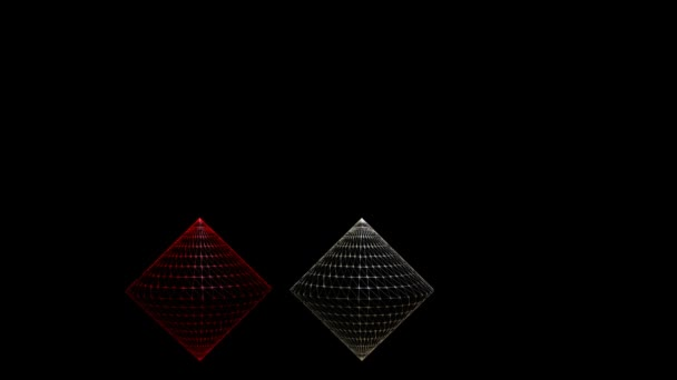 3d Video With Cones In Wireframe Design Red And Silver Cone On