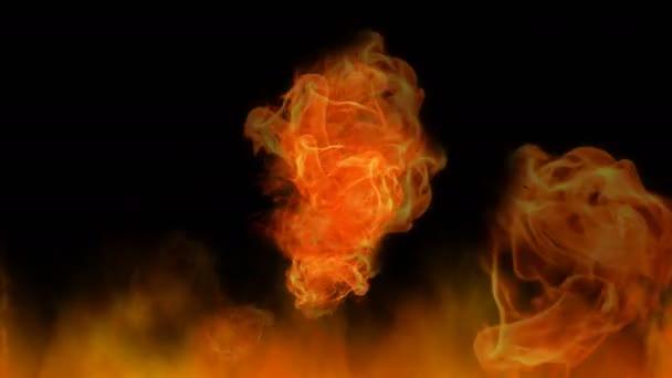 Oheň, divoké plameny na černém pozadí. Počítačem generované animace přírodních prvků