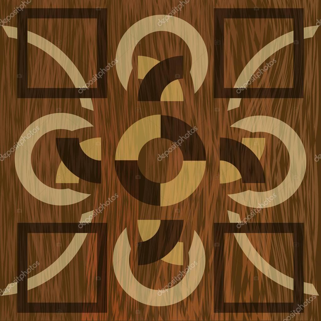 Wooden inlay, light and dark wood patterns. Veneer textured geometric ornament. Wooden art decoration template.