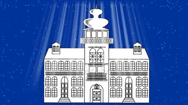 Alte Märchen-Schloss in Blizzard, dunkelblauem Hintergrund mit Lichtstrahlen, Animation verwendet eine monochrome Zeichnung. Weihnachten oder Winter Dekoration