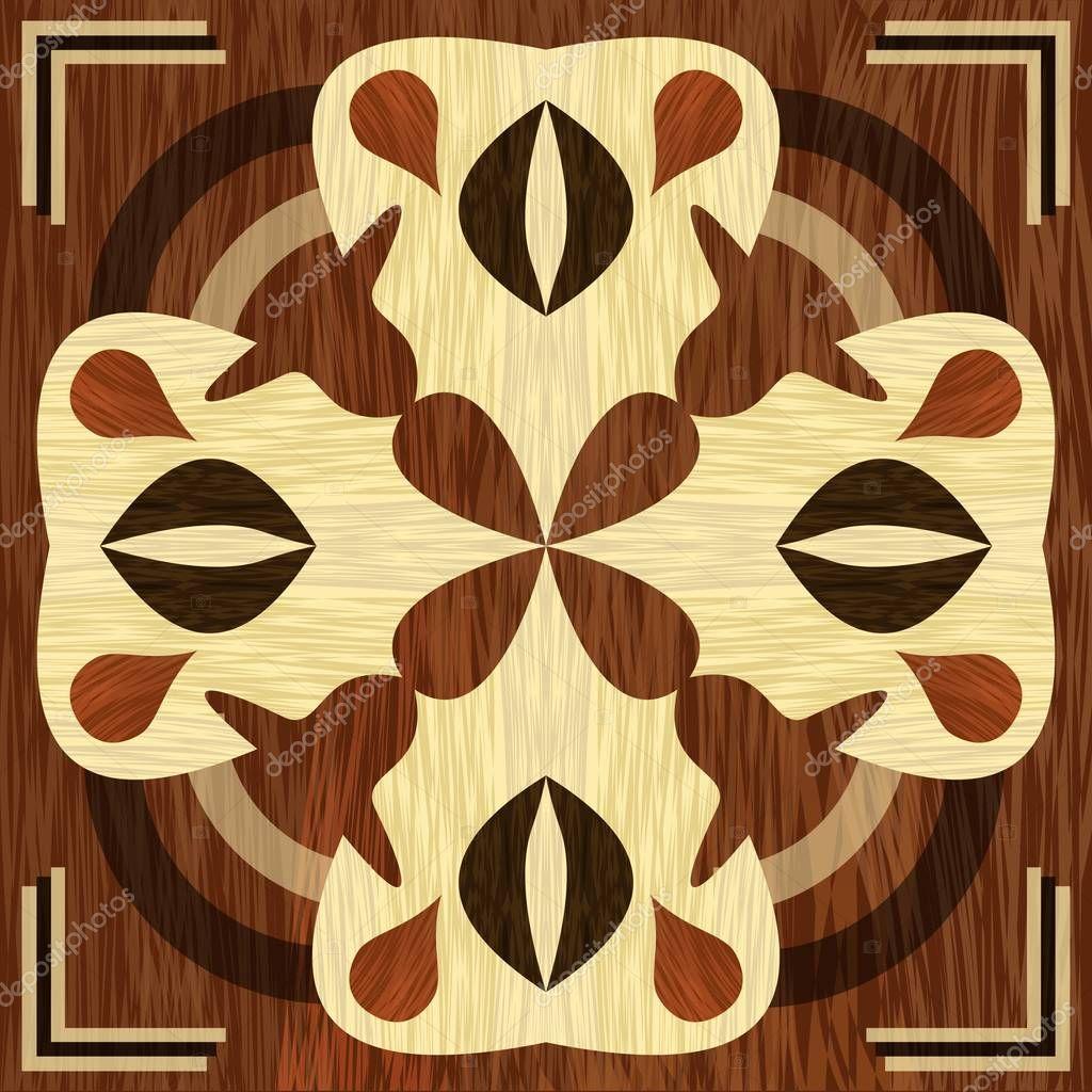 Wooden inlay, light and dark wood patterns. Veneer textured antique geometric ornament. Wooden art decoration template.