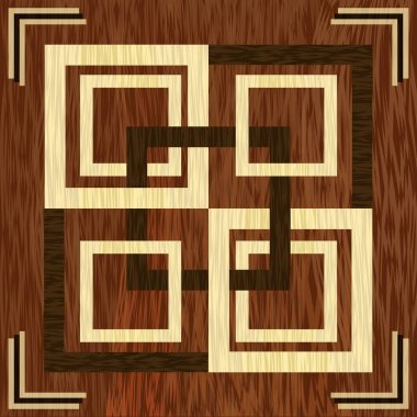 Wooden square inlay, light and dark wood patterns. Wooden art decoration template. Veneer textured geometric ornament.