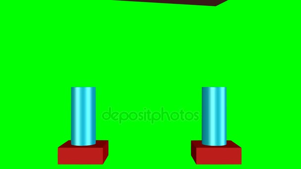 Business metaphor, 3d gate from construction set. Multicolored piceces, bricks, cylinder, arcs , pyramids falling from differnt dicerction. Animation on green screen
