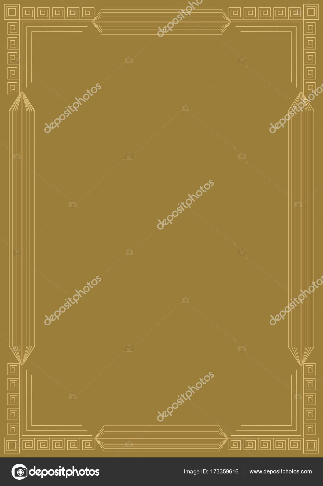 Golden embossed art deco frame. Relief geometric patterns on gold ...