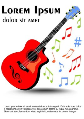 Guitar multicolored in vivid colors, colored uneven distributed musical notes. Leaflet, flyer, book cover template on white background.