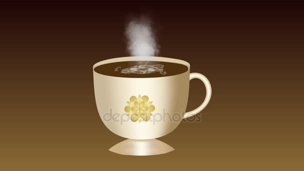 Sweet coffee. An animated cup of coffee with foam. The smoke rises from the coffee, a heart appears on top of a cup with a golden flower.