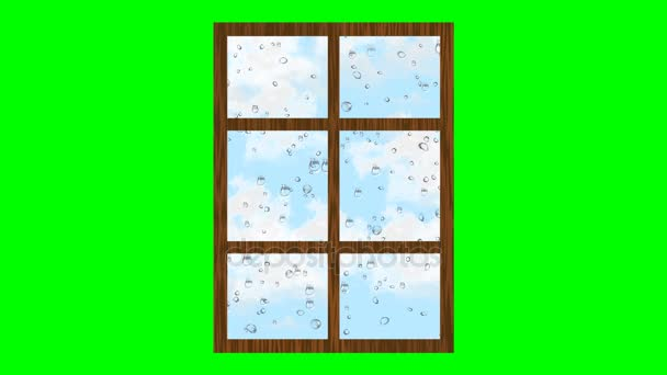 Rainy weather, drops rolling on glass and clouds flying in the sky. Animated illustration of window on green screen.