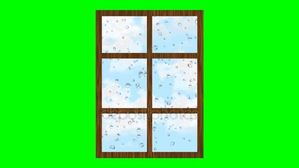 Deštivé počasí, kapky, válcování na sklo a mraky plující na obloze. Animovaná ilustrace z okna na zelené obrazovce.