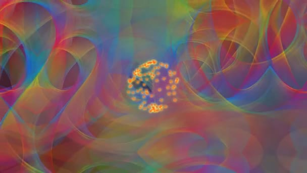Psychedelic rainbow background, multicolored waves flying trough space, geyser of sparks in the middle. Animation for night club, party, disco