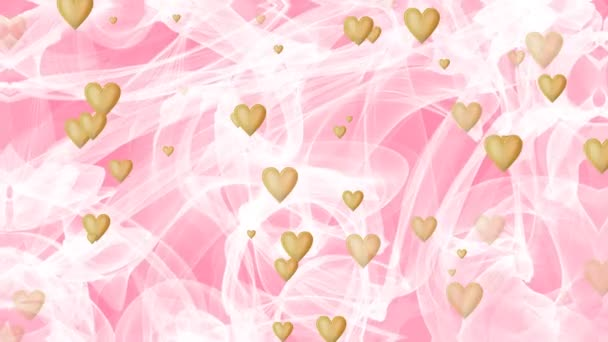 Wedding background, waving white veil on pink background, golden heart appearing and disappearing