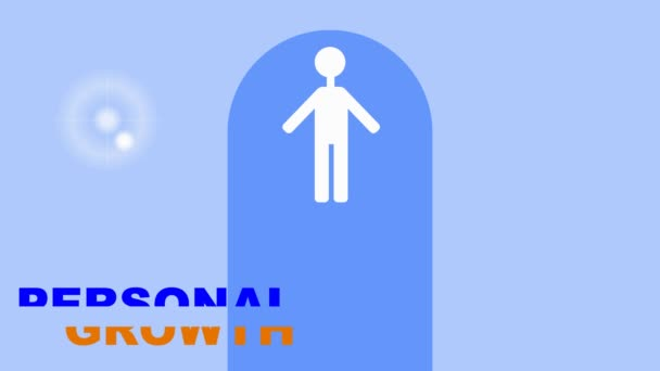 Personal growth training intro, white human figure in gate on light blue background, growing star symbol, thumb up symbol
