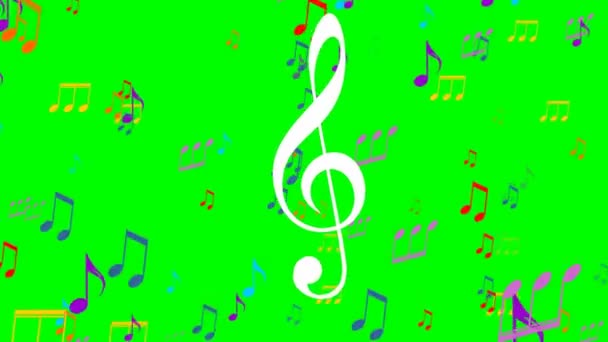 Colored music animation on green screen. Flying colorful music notes, white treble clef symbol floats in the foreground