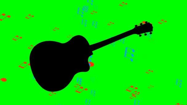 Kytara černá silueta a létající barevné noty na pozadí hudební nástroj. Animace na zelené obrazovce