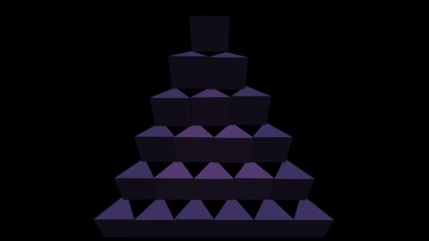 3d purple pyramids abstract video logotype, triangle composed from pyramids, rotating, zooming on black background,