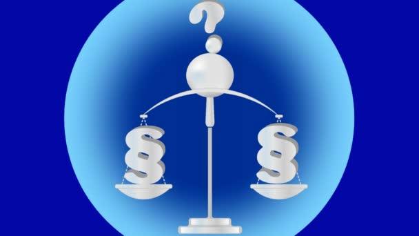 Tema è legale, animazione della vecchia scala, punto, punto interrogativo sopra la scala. Illustrazione su priorità bassa blu