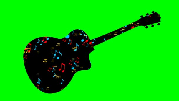Black guitar silhouette and flying colored musical notes within musical instrument shape. Animation on green screen