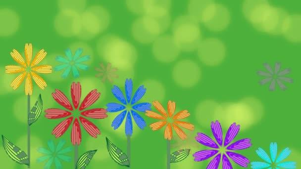Élénk zöld háttérrel, egyre virágok és foltos bokeh fények. Gyönyörű háttér tavaszi vagy nyári hirdetés