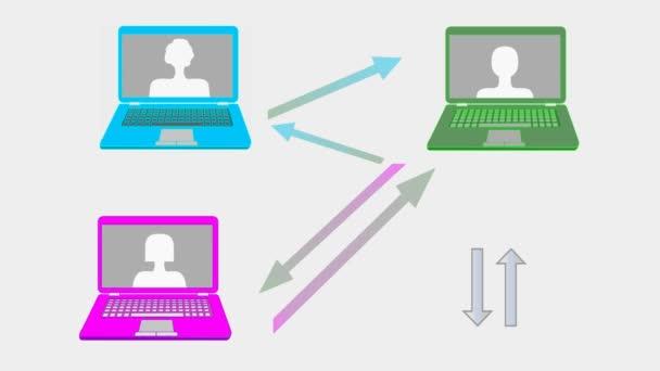 Webinar banner animaci vícebarevné notebooky, šipky, připojit k tlačítko a ruku kurzoru, na lince učení, online konference e-learning reklama