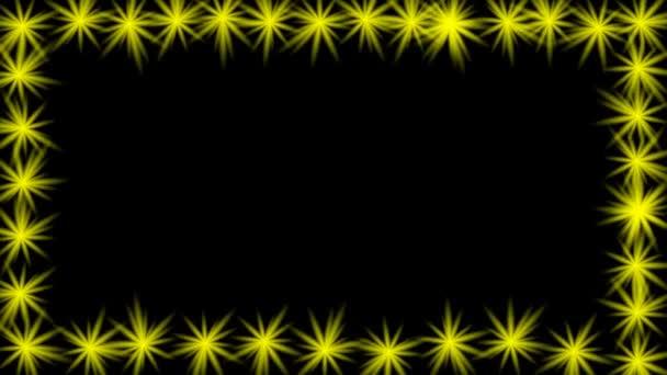 Animierte video-Frame mit gelb blinkende Sterne am Rand. Leere ...