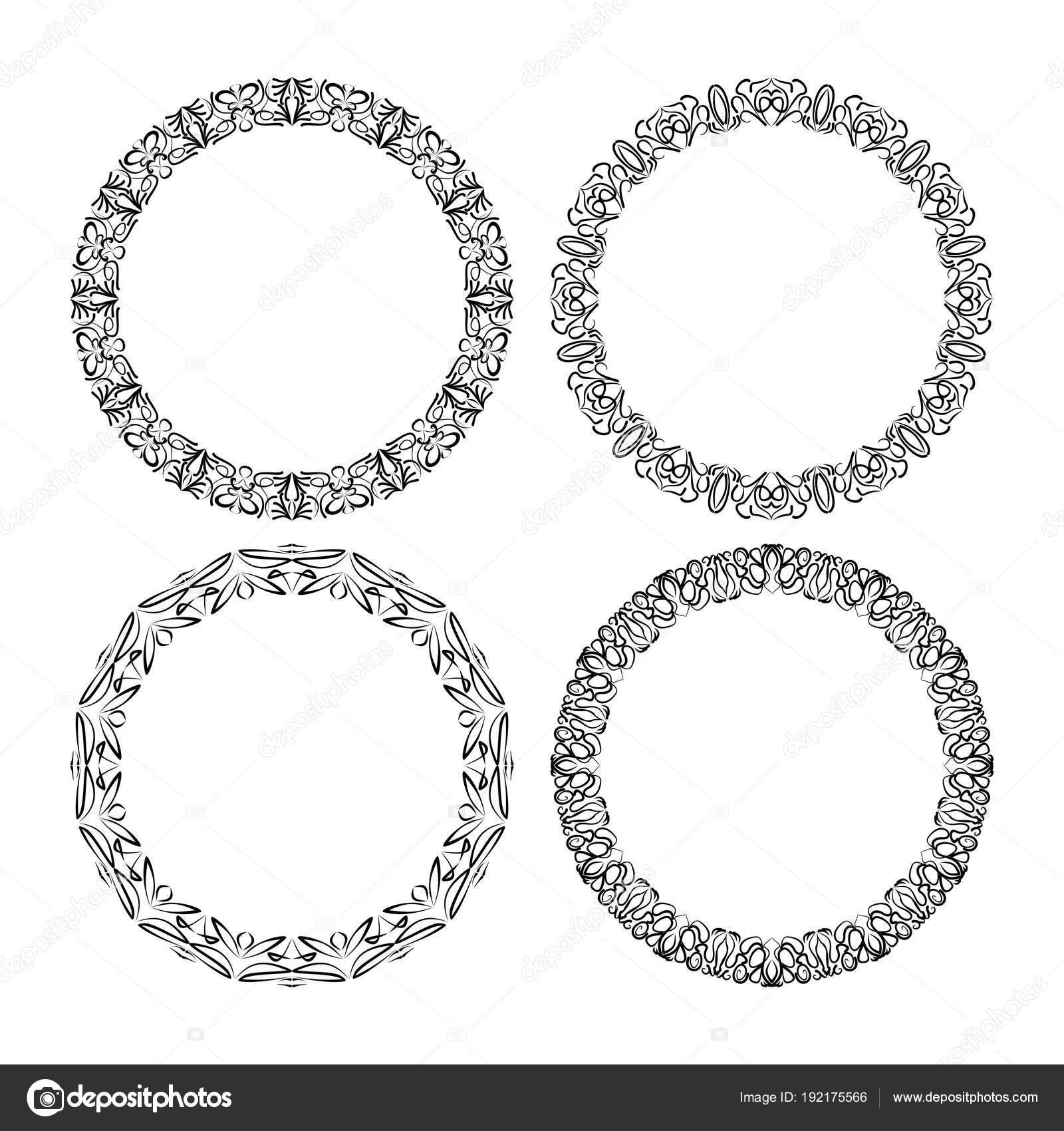 Vector: circulo bordado | Patrones de encaje de círculo caligráfico ...