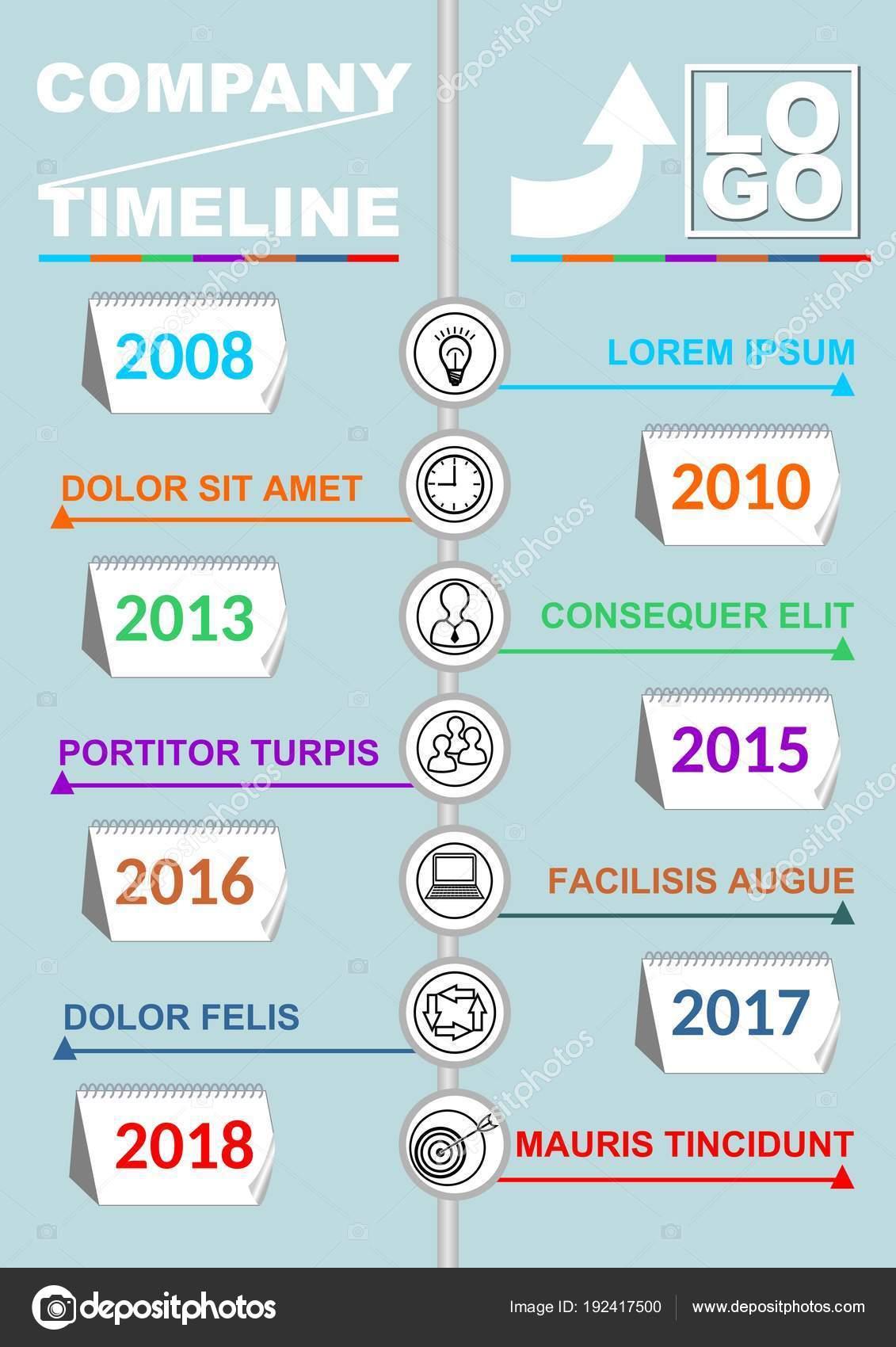 Plantilla de línea de tiempo infografía, vector abstracto con siete ...