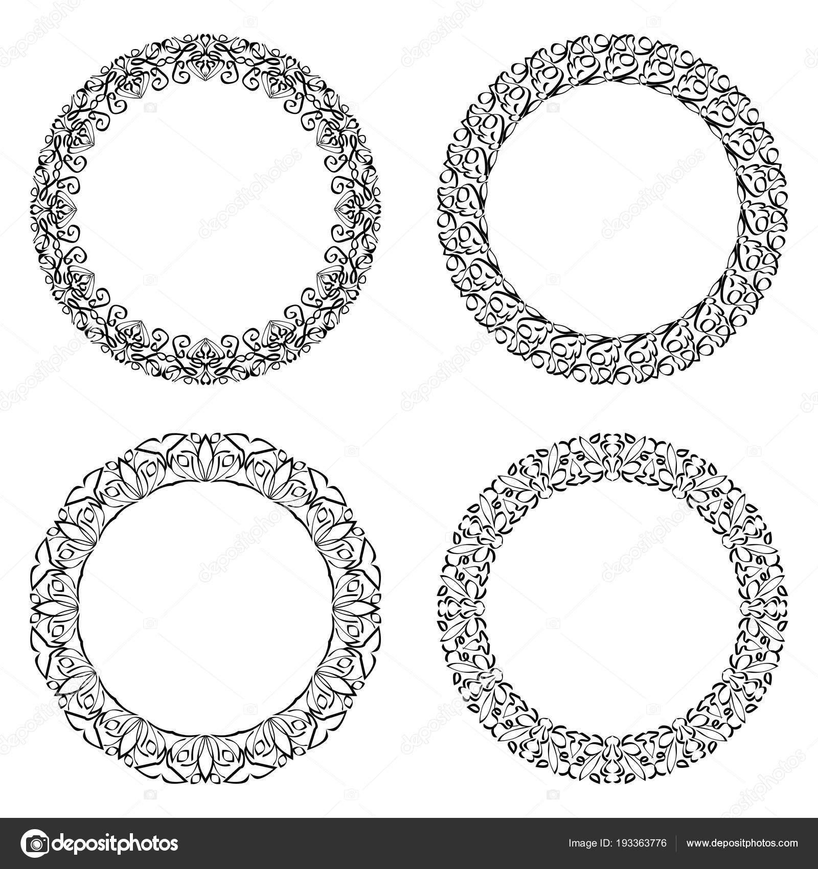 Marco redondo, patrones de encaje de círculo caligráfico en ...