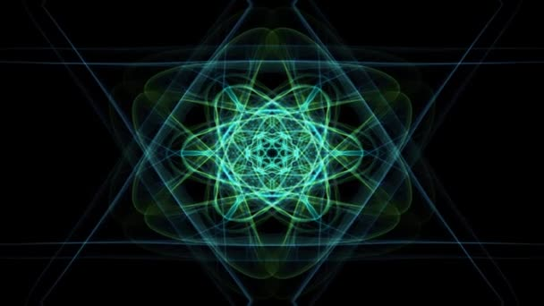 Live green fractal mandala, video tunnel on black background. Animated symmetric patterns for spiritual and meditation training.