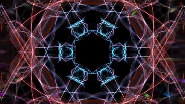 Červené a modré fraktální vícebarevné psychedelický efekt, rozmazané světla, pohybu tunel, disco dekorace, živé psychedelické barvy