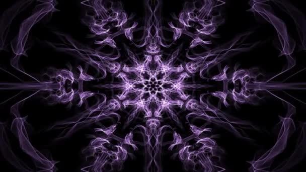 live lila sechseckiges fraktales Mandala, Videotunnel auf schwarzem Hintergrund. animierte symmetrische Muster für spirituelles und Meditationstraining.