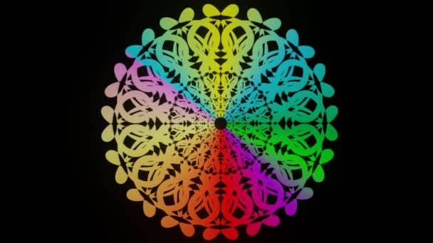 Live duha mandala, kruh mandala s animovanými barvami v živém designu, léčebný vzor pro harmonii duše