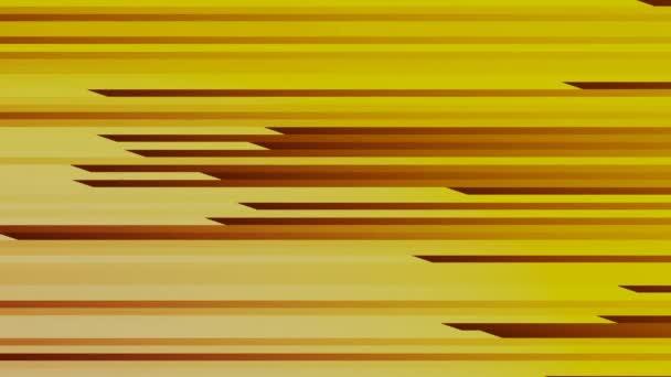 Abstrakter Videohintergrund mit horizontal gelblichen und dunkelroten Streifen in horizontaler Bewegung, während der Bewegung werden die Streifen verjüngt und dehnen sich dann