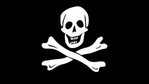Kalóz zászló, videó kalóz motívum koponya és keresztbe csontok, hullámos szövet, fehér motívum fekete alapon