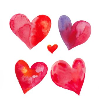 Vector watercolor hearts