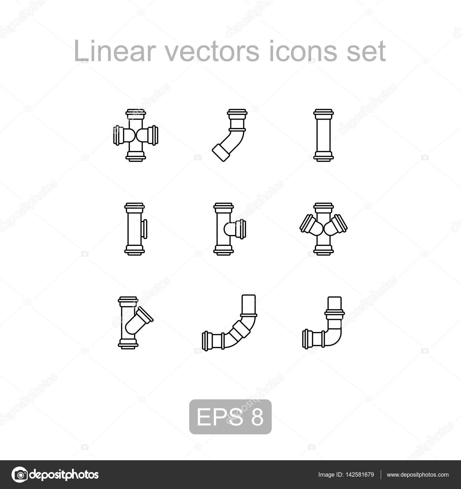 Juego de tubos, icono de accesorios. Icono de lineal — Fotos de ...