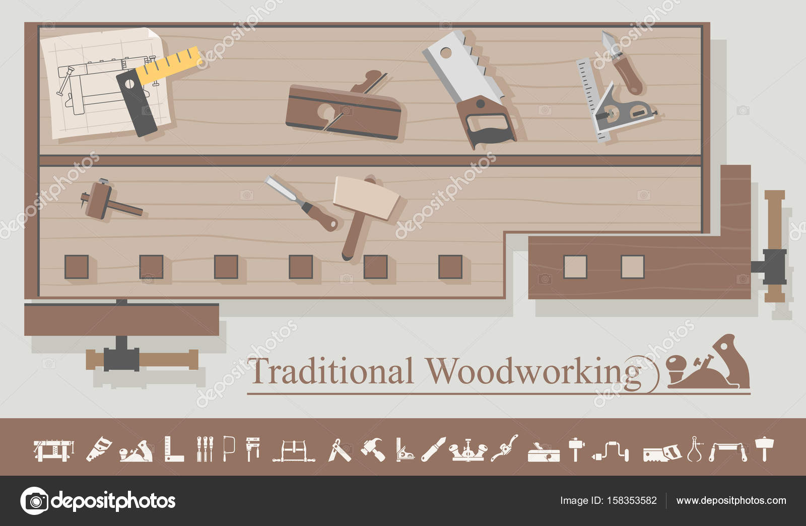 Traditional Woodworking Tools Stock Vector C Zzelimir 158353582