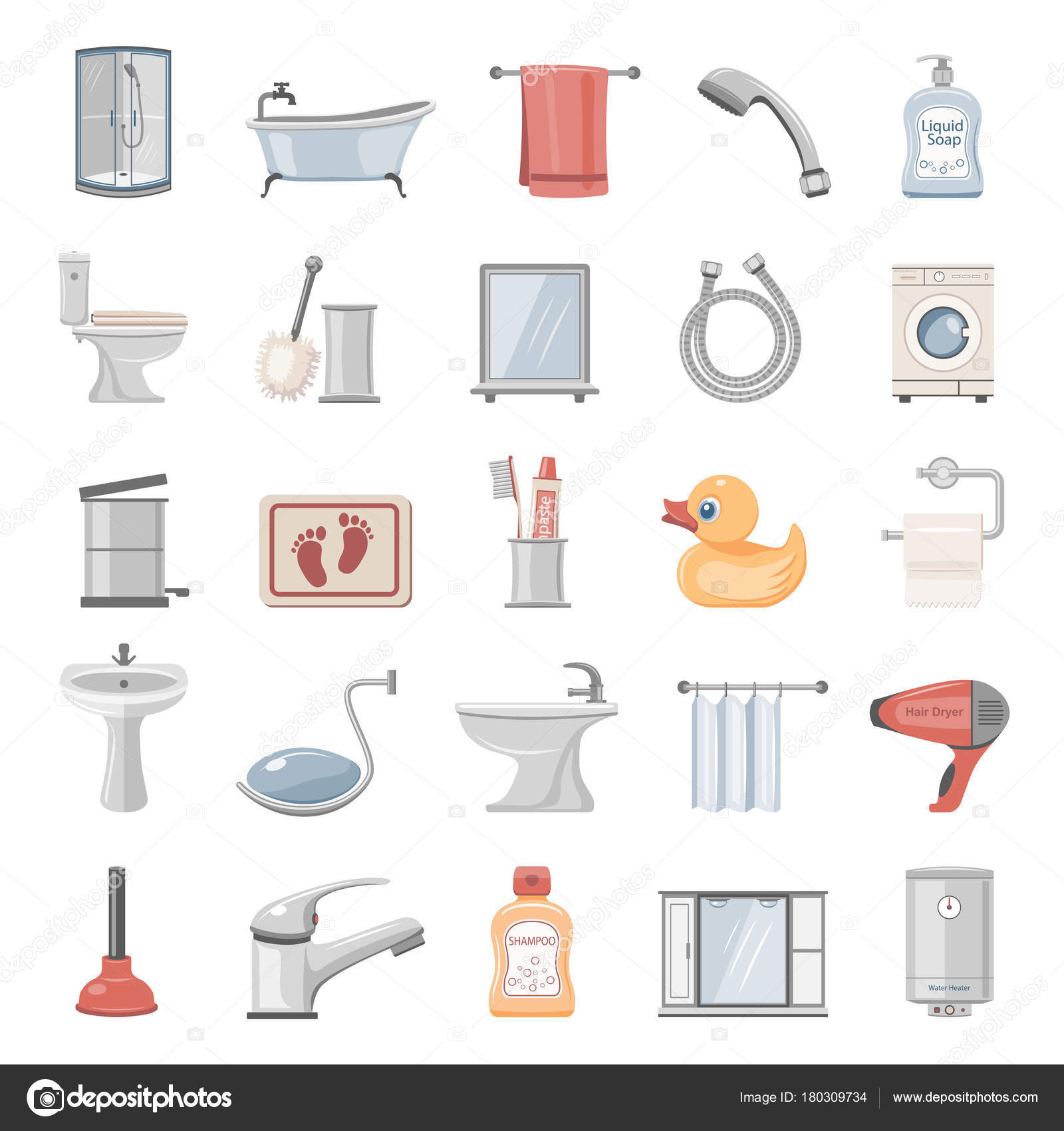 Flat Icons Bathroom Equipment Accessories — Stock Vector © zzelimir ...
