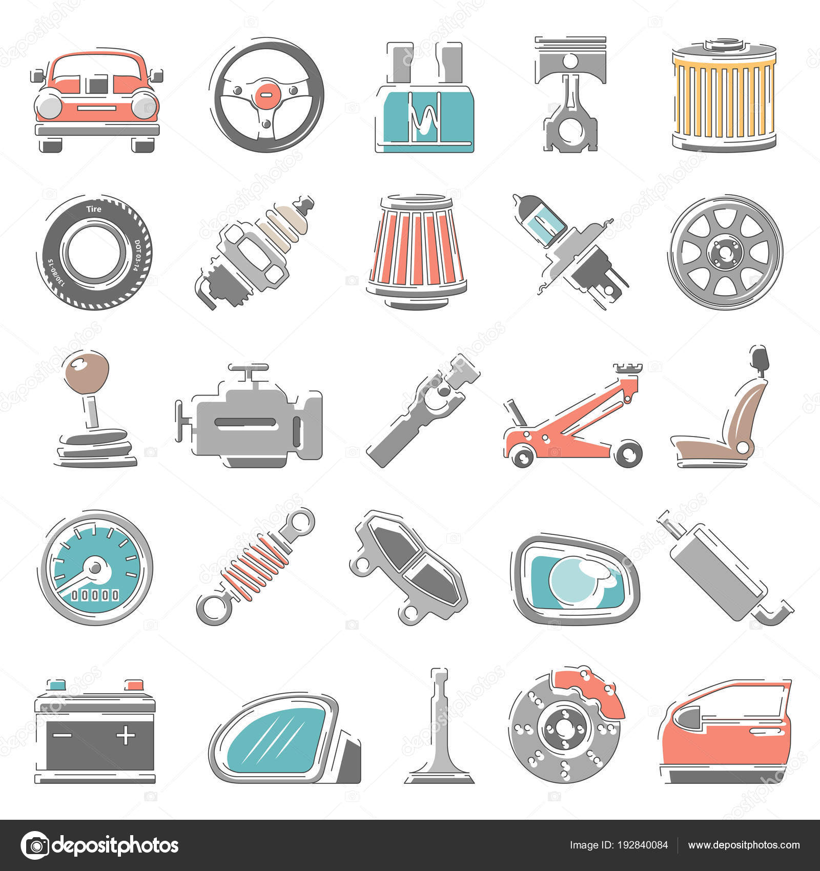 Outline Color Icons Car Parts — Stock Vector © zzelimir #192840084